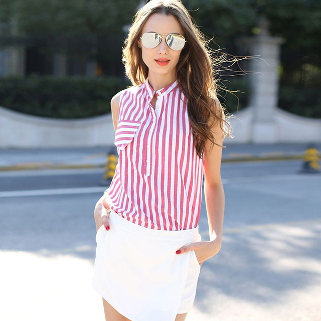 Veri Gude Summer Style Women's Casual Vertical Striped Blouse Cotton Shirt Sleeveless 2 Colors