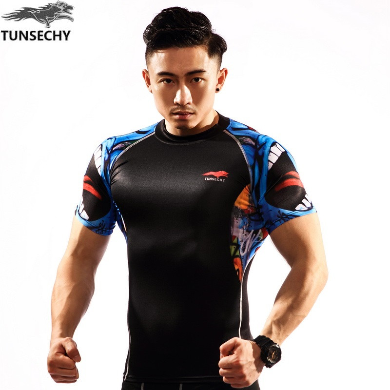 TUNSECHY brand Men Advanced Fabric Compression will Base Layer Short Sleeves Shirts Fitness Weight Lifting Skin Tight