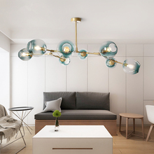 Hậu hiện đại LED Đèn chùm Kính treo đèn Bắc Âu treo đèn phòng khách đình chỉ chiếu sáng trang trí mặt dây chuyền bóng đèn