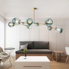 ما بعد الحداثة LED الثريا الزجاج مصابيح تعليق للزينة الشمال تعليق الإنارة غرفة المعيشة علقت تركيبات الإضاءة قلادة مصباح
