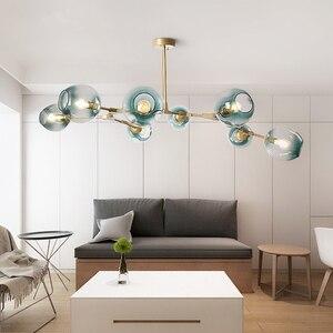 Image 1 - ポストモダン LED シャンデリアガラス吊り灯北欧サスペンション照明器具リビングルーム中断照明器具ペンダントランプ