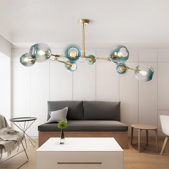 ポストモダン LED シャンデリアガラス吊り灯北欧サスペンション照明器具リビングルーム中断照明器具ペンダントランプ