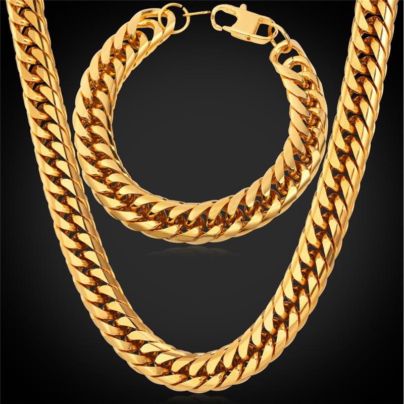 Ensemble de bijoux éthiopiens africains Collare couleur or/noir en acier inoxydable en gros Chunky chaîne collier Bracelet hommes bijoux S115