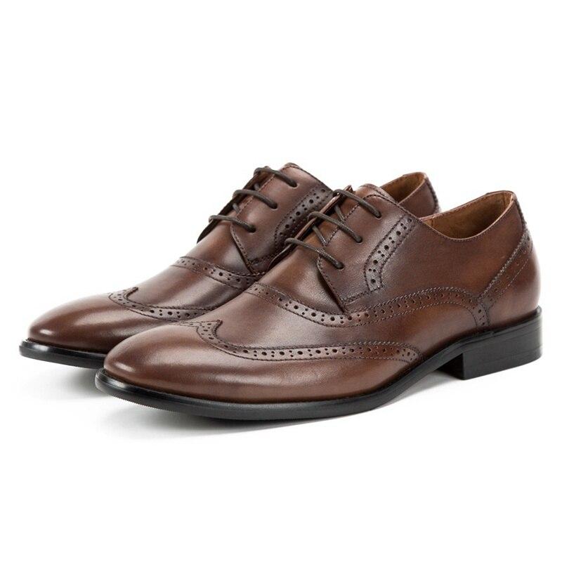 Genuíno Casamento Nas Brogue Mão Festa Redondo Couro Esculpida Formal Homem Feitos Pé Calçados Preto Luxo marrom Sapatos Ss227 Do Da Pontas Dos De Vestido Das Asas À Derby Dedo Homens wFvaA8qx