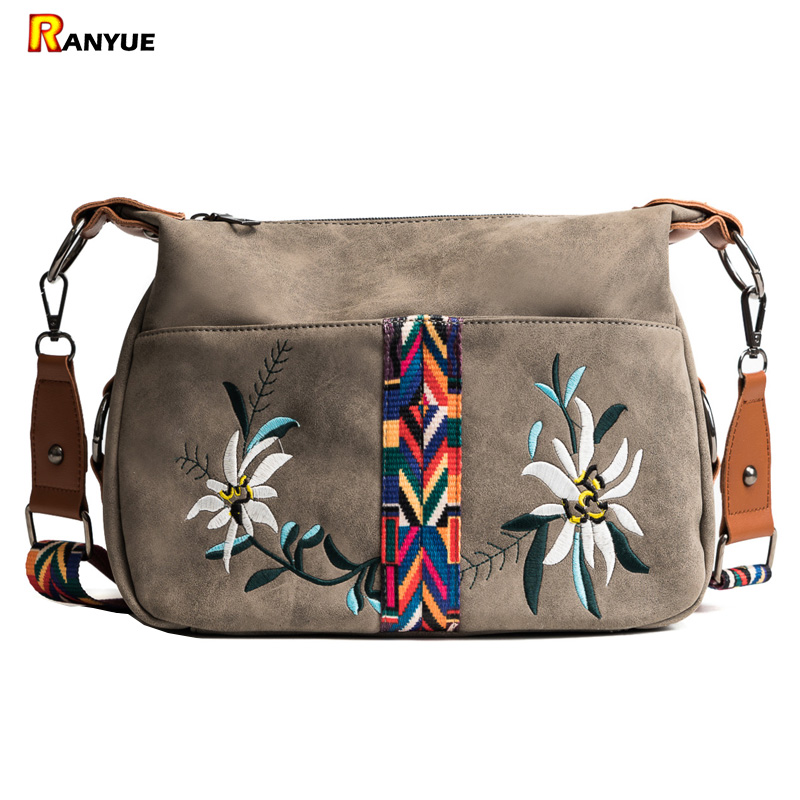 Vintage Floral Embroidery Bag Wide Strap Handbag Shoulder Crossbody Bags For Women Messenger Bags Small Bolsa Feminina Couro Sac купить в Москве 2019