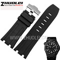 Luxury Band,New 28mm Black Rubber Silicone Waterproof with stainless steel pin buckle Strap Watch Band For AP watchband
