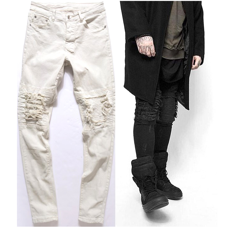Men's Clothing Aspiring New Arrival Spring Autumn European Design Vintage Knee Pleated Monkey Wash Stretch Slim Hip Hop White Black Skinny Jeans Men