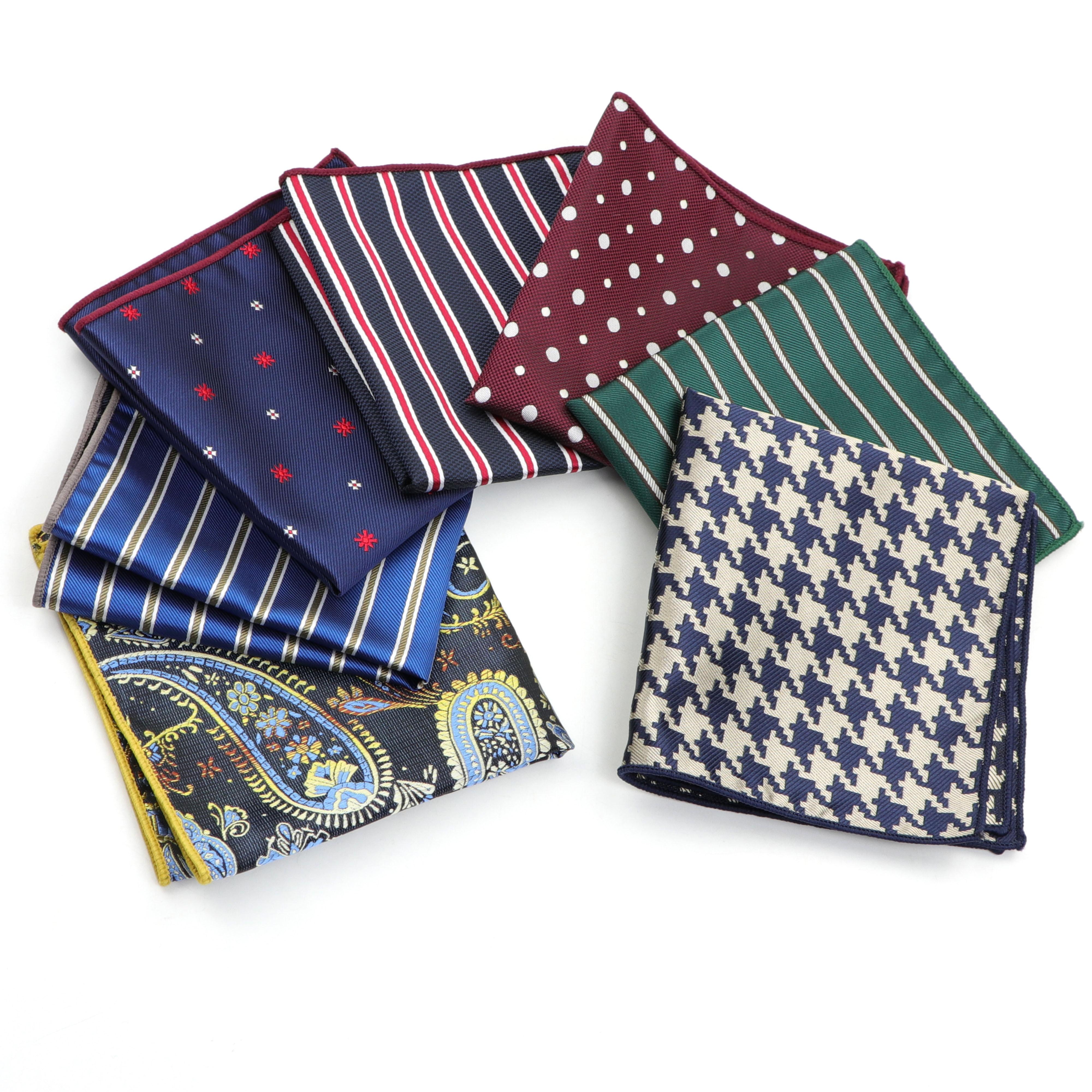 Men's Handkerchief Polka Dot Striped Woven Printing Pocket Square Hankies Business Casual Polyester Hanky NO.21-44