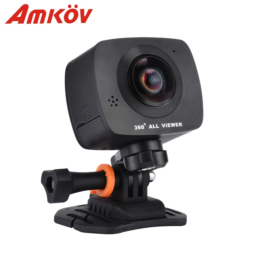 AMKOV AMK200S Dual Lens WiFi Action Sport Camera 360*360 Degree Panorama Camera 960P LCD Screen TF Card Slot Support APP Control