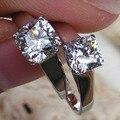 Чистого серебра его и ее обещание кольца для пары, 2ct сона Имитация кольца с бриллиантами для женщин, свадьба кольца мужчины ювелирные изделия