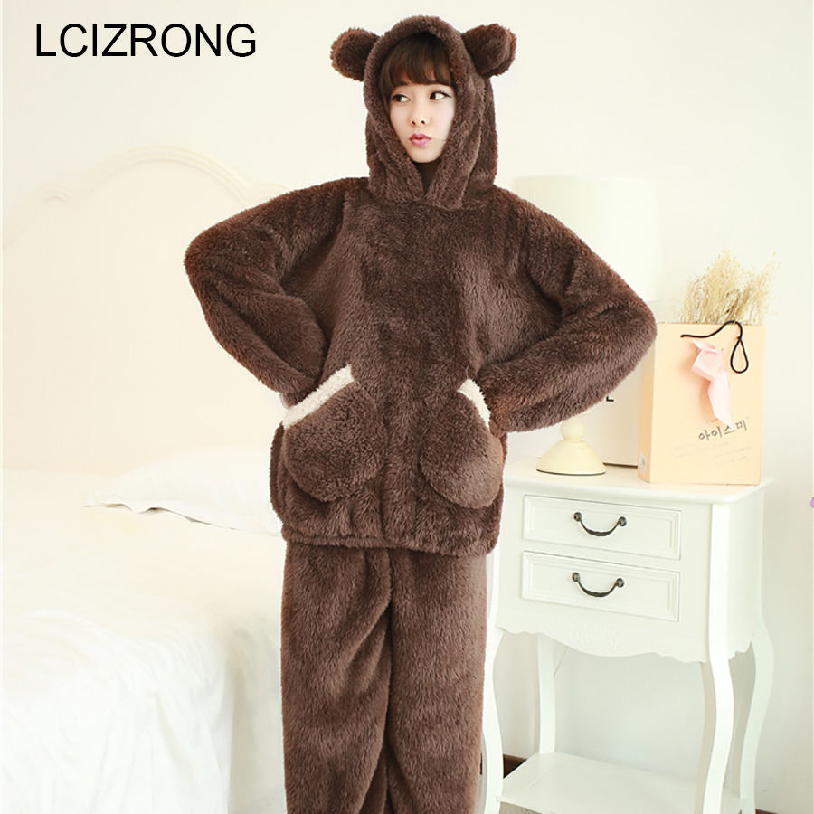 Winter Cute Bear Plush   Pajamas     Sets   Women Coral Fleece Long Sleeve Hooded Home Clothes Autumn Thicken Warm Soft Sleepwear Mujer