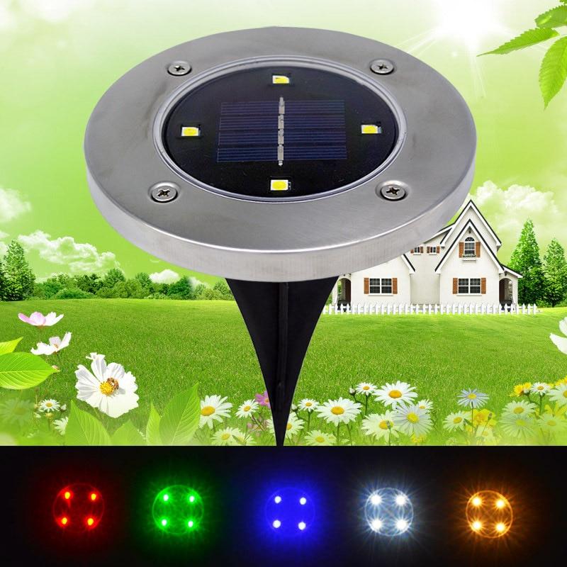 5pcs/lot 4 Leds Outdoor Garden Solar Buried Lamps LED Landscape Lawn Light Solar Powered Underground Lights Waterproof