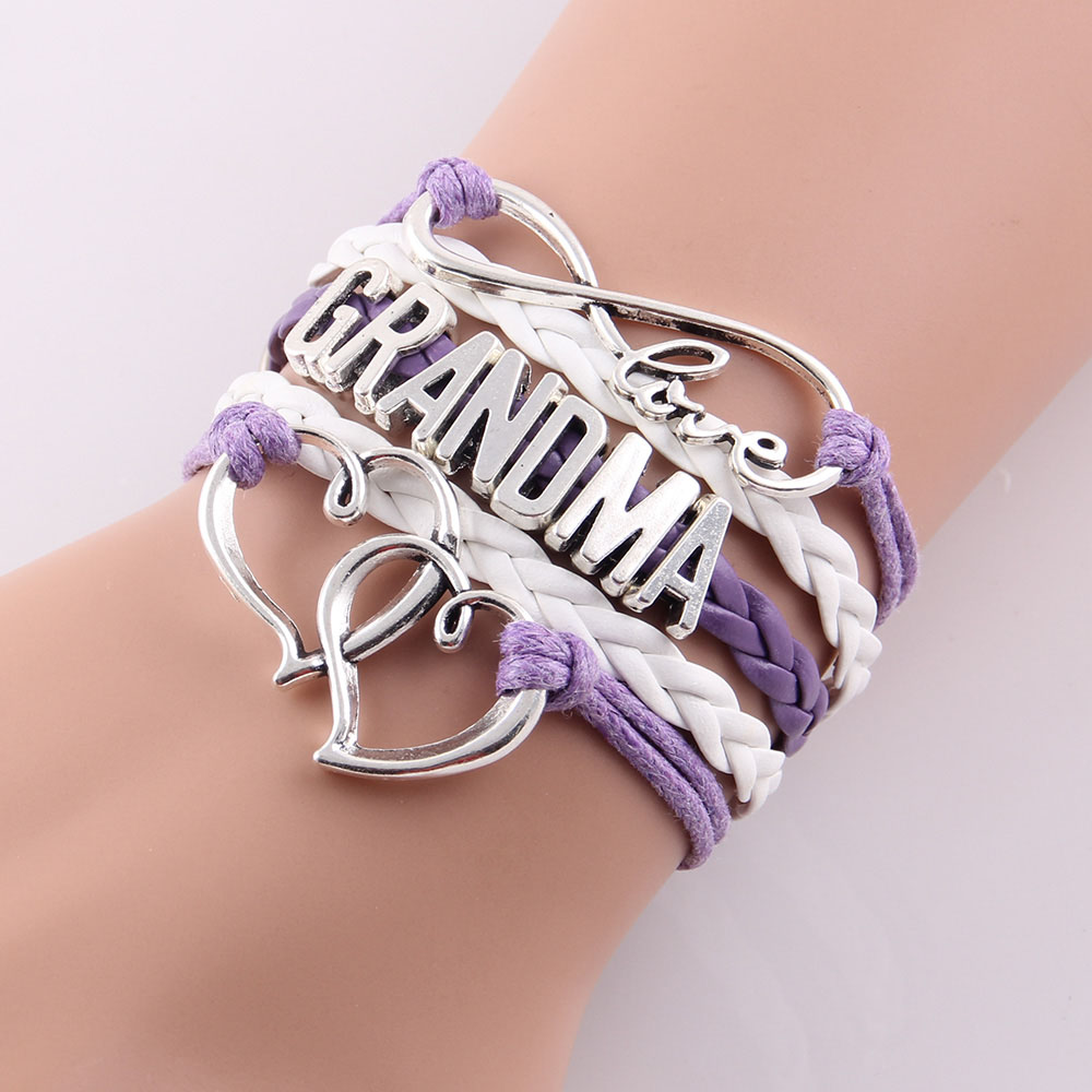 Little MingLou Infinity love grandma bracelet heart feet charm Bracelet for women wrap braid leather bracelets & bangles jewelry 2