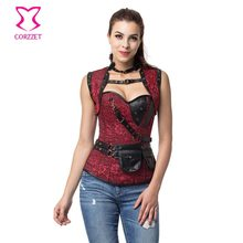 Punk Steel Boned Overbust Corset Gothic Fashion Jacket Set Plus Size Corsets and Bustiers Steampunk Clothing Burlesque Costumes