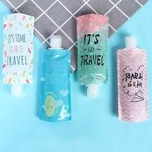 Portátil 100ml saco de dispensação líquido shampoo saco de armazenamento doces cor loção embalagem garrafas espremer viagem maquiagem recipiente