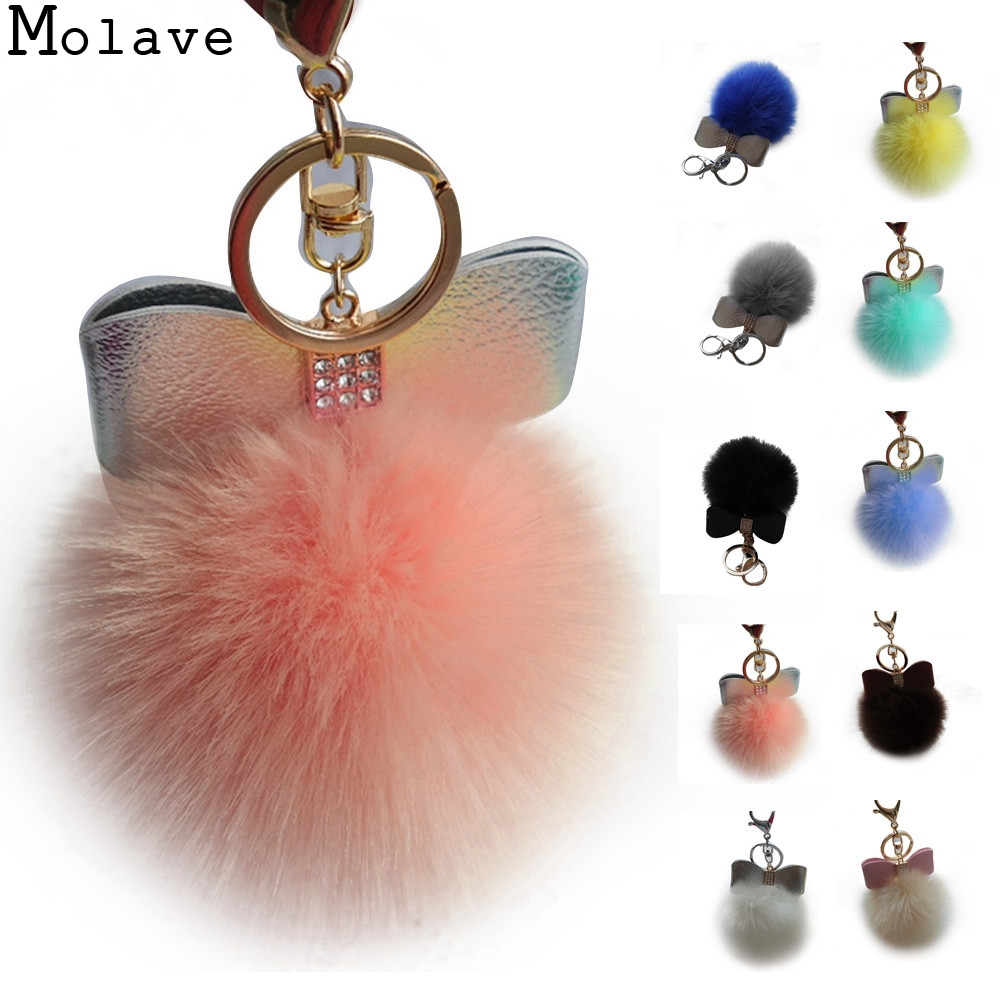 2017 New Fashion Design Lovely Rabbit Fur Ball Keychain Bag Plush Car Key Ring Car Mini Key Pendant Simple Keychain Gifts Jan13 wholesale cheap new cute fluffy keychain faux rabbit fur ball key chains bag backpacks charms trinket car key ring accessories