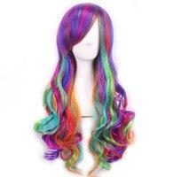 Модные женские радужные длинные вьющиеся волнистые волосы маски для вечерние полный косплей ловечерние Лита партия парик колпачок