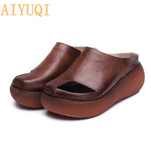 AIYUQI Womens Slippers 2019 New Summer genuine Leather Retro woman flip flops,shoes casual platform womens outdoor slippers