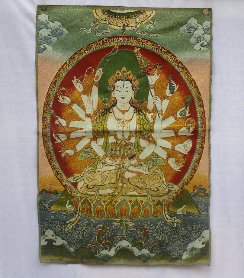 Collectible Traditional Tibetan Buddhism in Nepal Thangka of Buddha paintings ,Big size Buddhism silk brocade painting  p002509