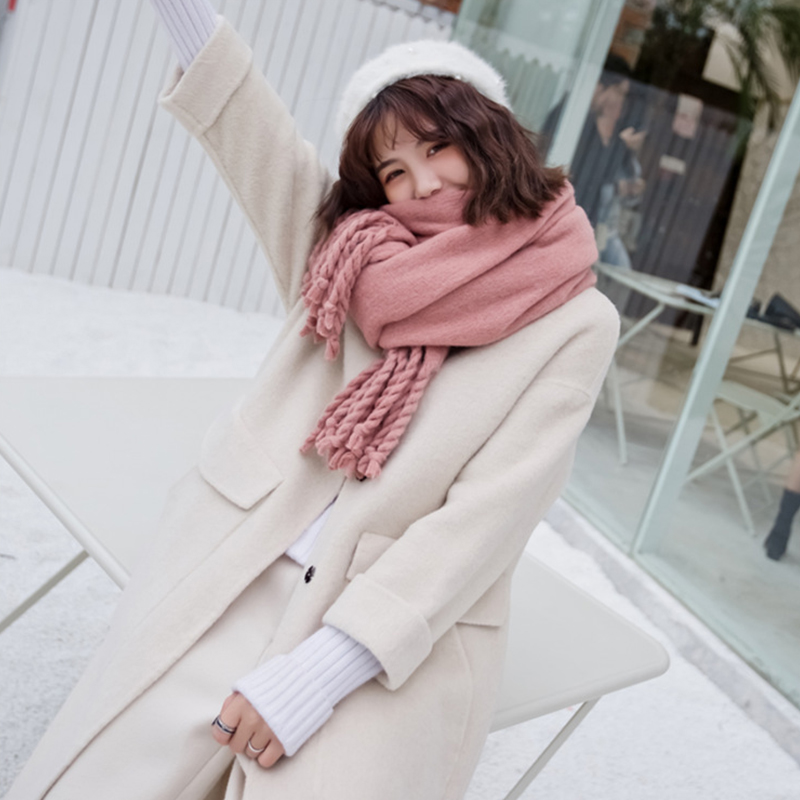 8d338a20064da solid scarf female autumn and winter new Europe and the United Kingdom Twisted  tassel thickening long warm fringe dual use scarf-in Women's Scarves from  ...