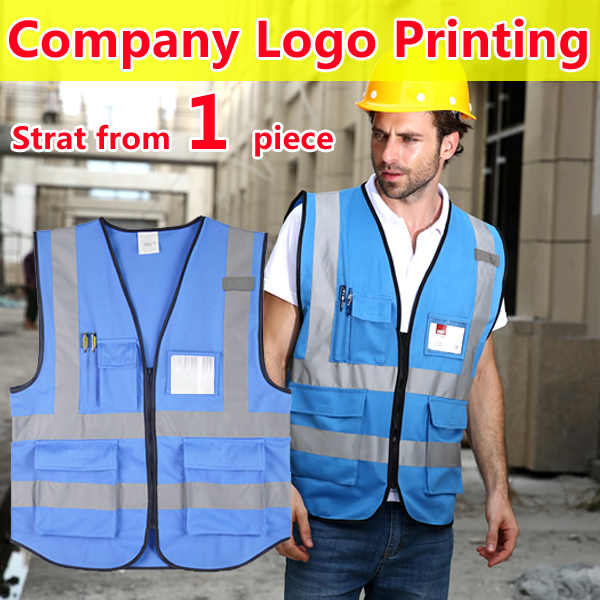 SPRADWEAR High visibility blue vest print logo safety gilet reflective workwear waistcoat chaleco reflectante free shipping