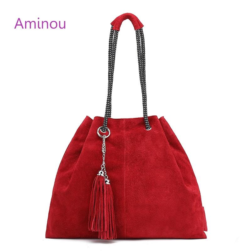 Aminou 2018 Famous Women Tote Bag Lady Casual 100% Genuine Leather Bags For Women Crossbody Tassel Bucket Handbag Shoulder Bags