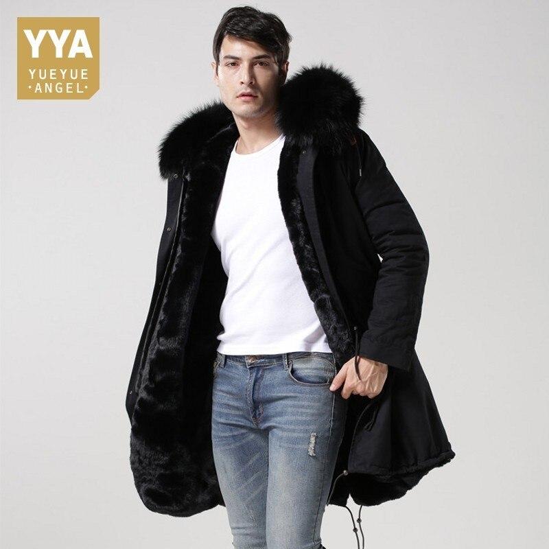 Top Brand Winter Real Fur Collar Hoodie Mens Parka Warm Fur Lining Overcoat Cotton Long Jackets Men Plus Size 4XL Military Coats