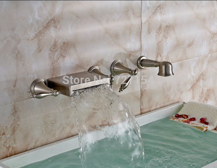 New Wall Mounted Bathroom Tub Faucet Waterfall Sink Mixer W/ Telephone Hand Unit