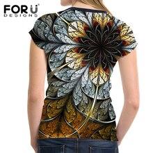 FORUDESIGNS 3D Flowers Rose T-shirts Women Summer Tops Tees Print T shirt Women Fashion Tshirts Vetement Femme Female T Shirts