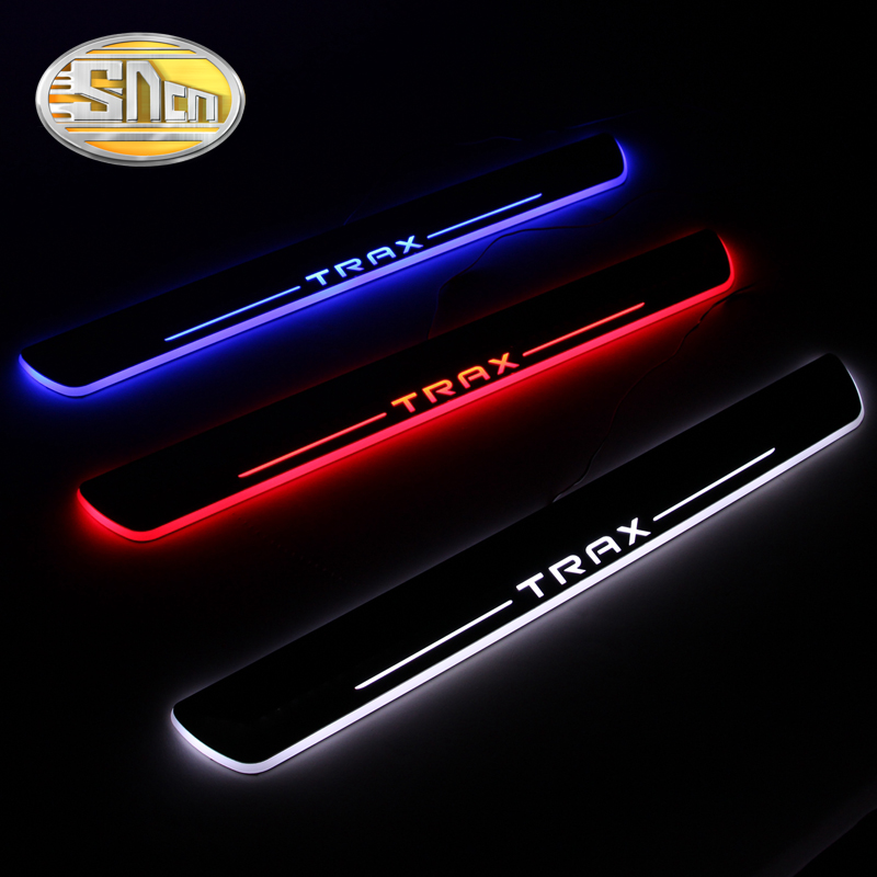SNCN Waterproof Acrylic Moving LED Welcome Pedal Scuff Plate Pedal Door Sill Pathway Light For Chevrolet