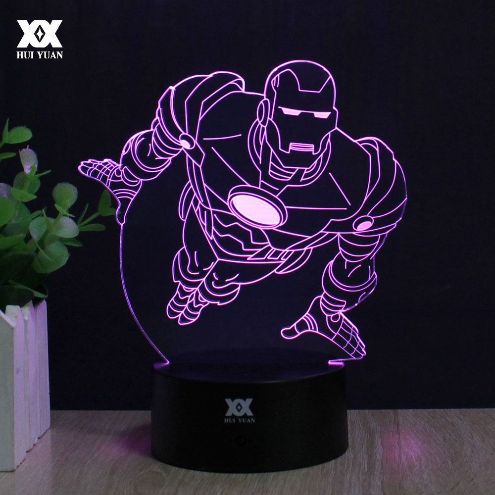 Iron Man 3D Decoration Table Lamp Superheroe LED Remote Control Night Lights Novelty Gifts For Children's Decorative Lighting