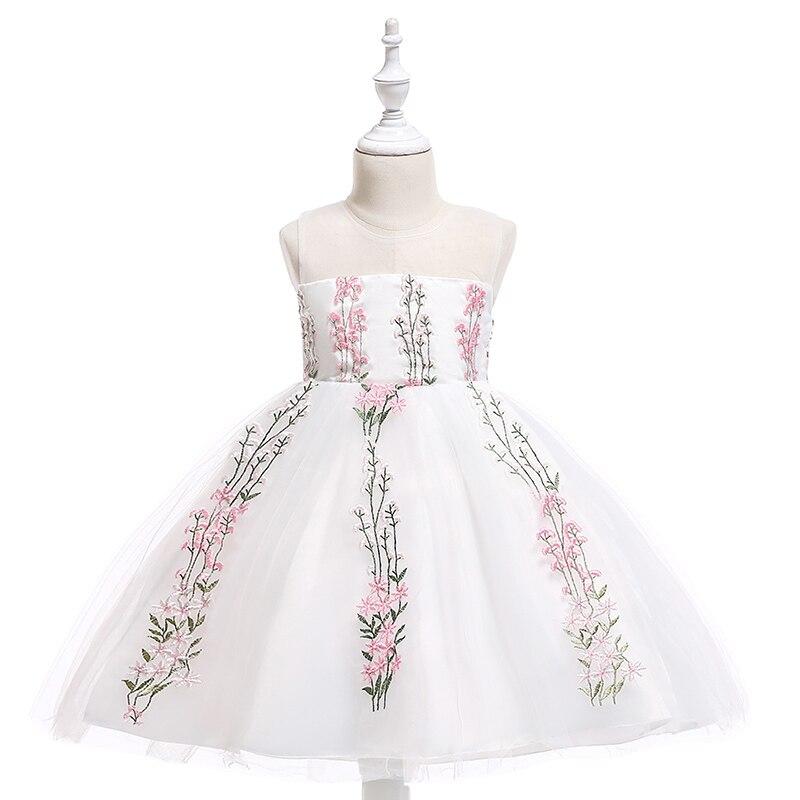 Розничная продажа, красивое белое платье принцессы с вышитыми цветами для девочек на день рождения, элегантное вечернее платье для девочек,...