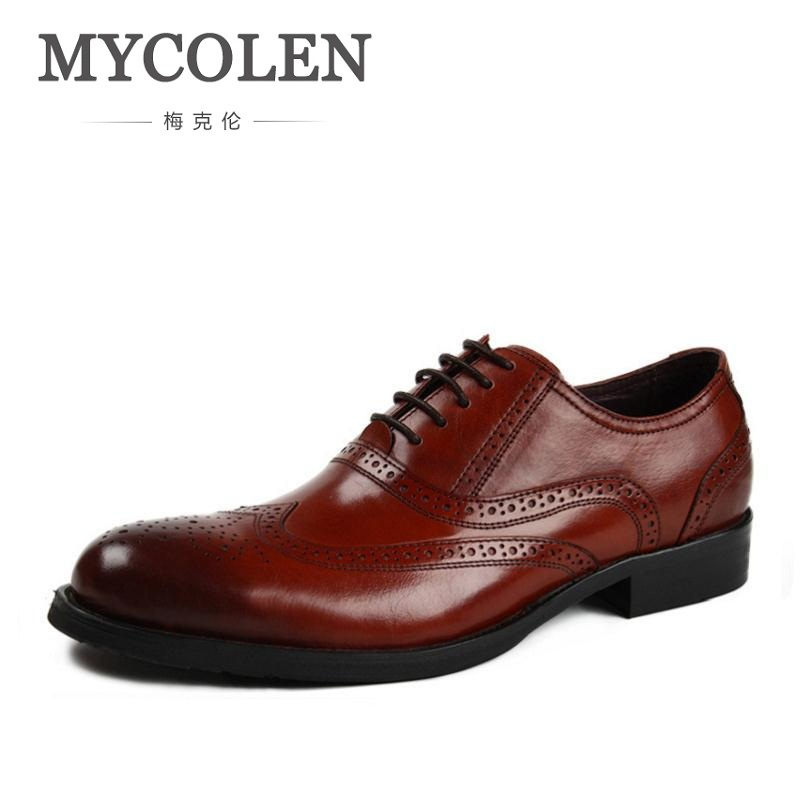 MYCOLEN Bullock New Mens Genuine Leather Dress Shoes Round Toe Lace Up Oxford Wedding Shoes Breathable Hollow Career Work Shoes zero more high quality men oxford shoes british style carved genuine leather brogue shoes lace up bullock business mens