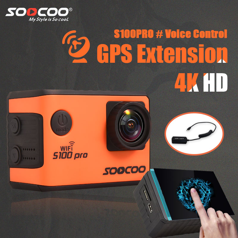 SOOCOO S100PRO 4K Sport Action Camera with Touch Screen and Gyro GPS Extension M