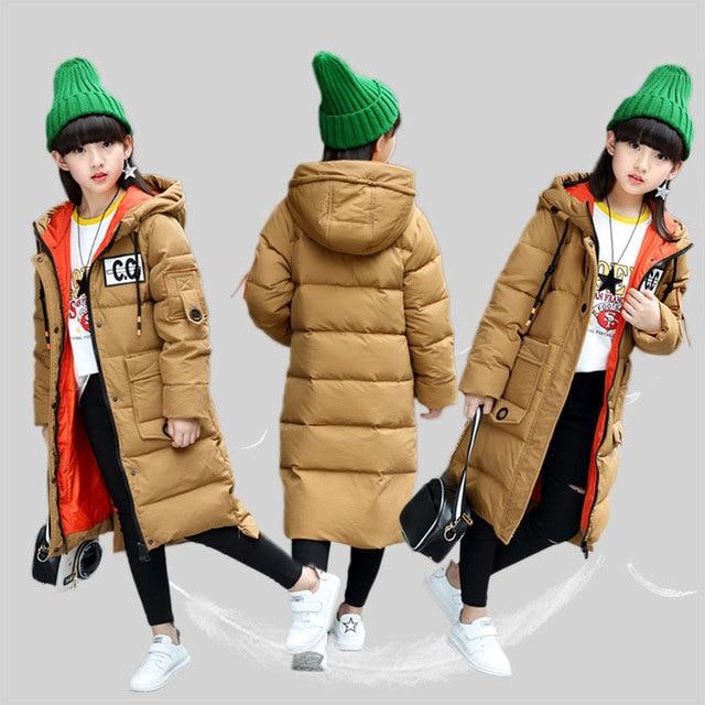 Мода 2017 г. Зимний пуховик для девочек Куртки детей Пальто и пуховики теплая Толстая Утка Пух детей для холодной погоды-30 градусов куртка for5-12T