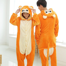 Купить с кэшбэком Winter Flannel Warm Animal Pajamas One Piece For Adults Onesie Cosplay Cartoon Golden Monkey Home Clothes Couple Pajama Sets