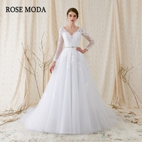 Rose Moda Long Sleeves Wedding Ball Gown V Neck White Lace Wedding Dress With Sleeves 2018