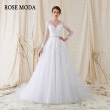Rose Moda Long Sleeves Wedding Dress V Neck White Lace Wedding Dresses With Sleeves 2018 Foto Sebenar
