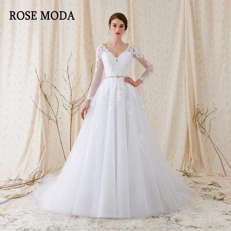 Rose Moda lange mouwen trouwjurk V-hals witte kanten trouwjurken met - Trouwjurken - Foto 1
