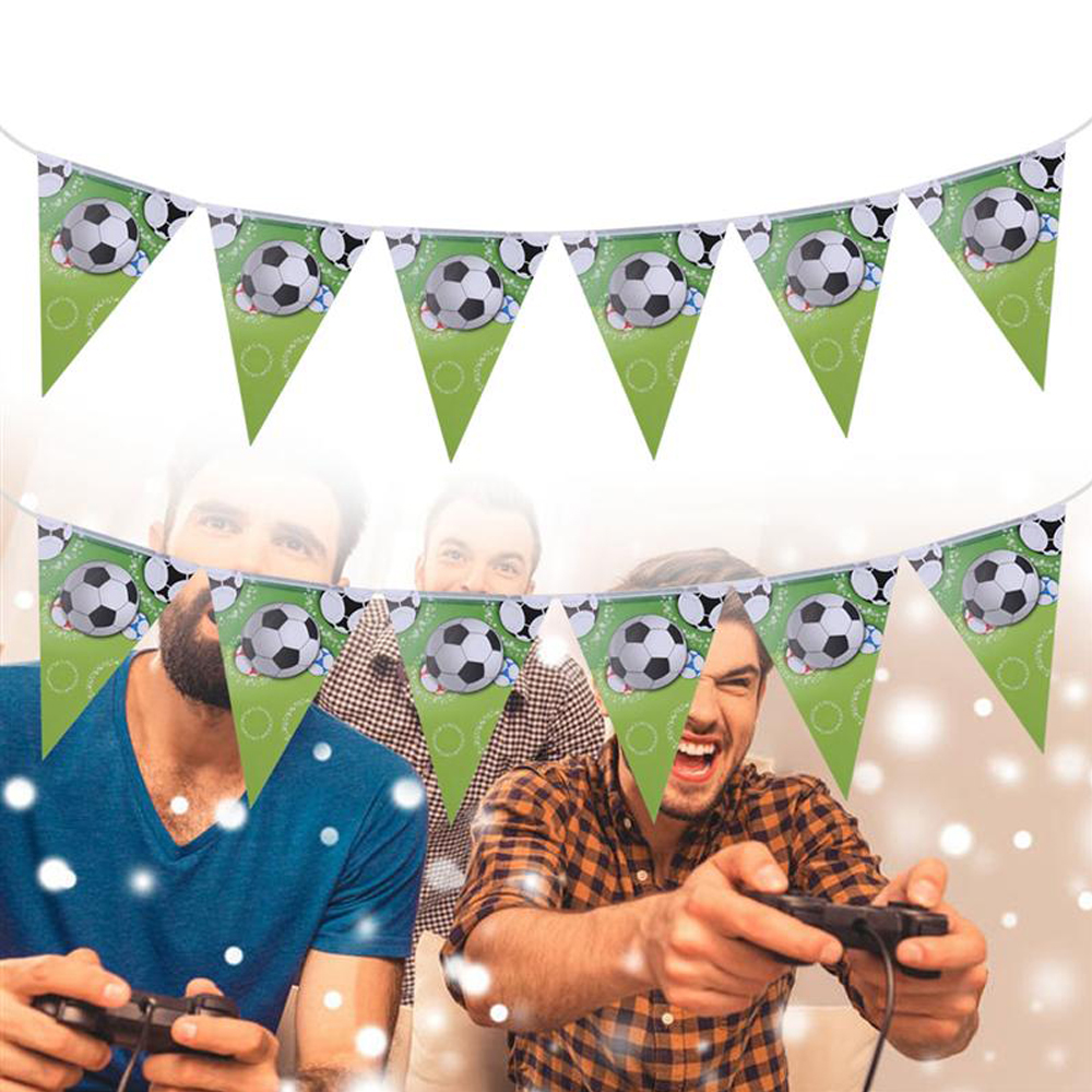 2019 New Soccer Birthday Decorations Party Supplies Fans Gifts Sporty Football Flags Theme Bunting Banners Garland Set (Green)