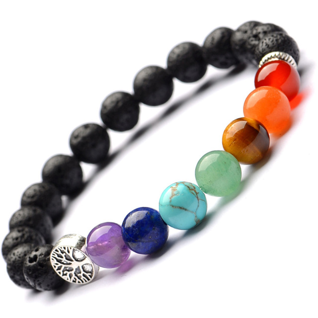 7f32b9b2c70f7 Tree Of life 8mm 7 Chakras Black Lava Stone Beads DIY Essential Oil Perfume Diffuser  Bracelet