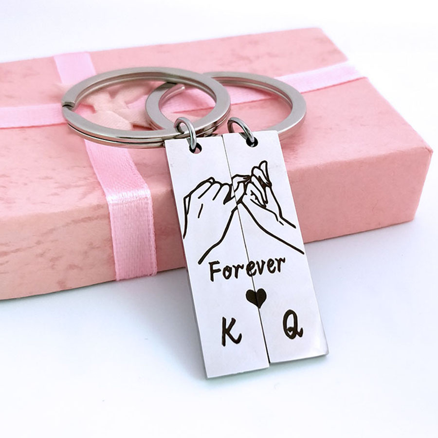 1 Pair Engraved Forever Pinky Promise King Queen Keyring Letter K Q Keychain For Couples Boyfriend Husband GiftJewelry Key Chain