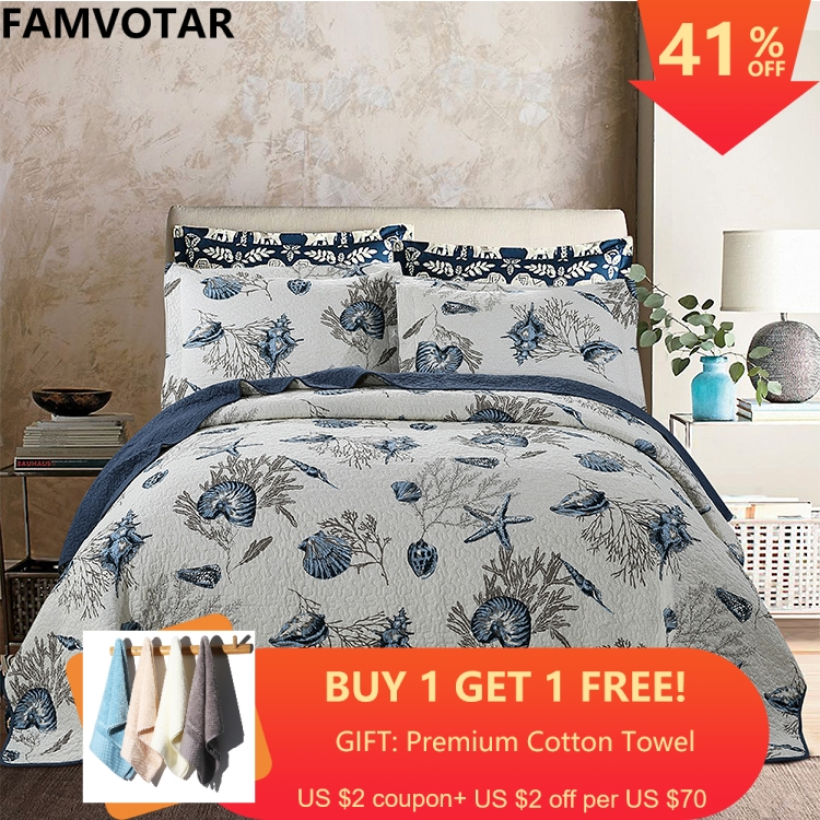 3 pieces Country Style Sea Plant Print Washed Cotton Quilted Bedspread Ultra Soft Comforter Set Queen