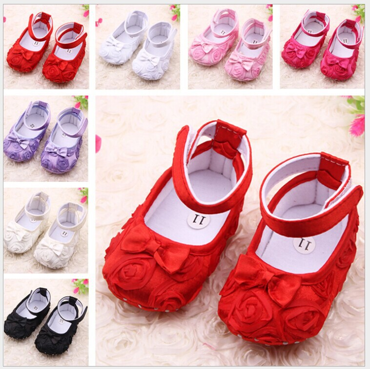 Red cartoon first walkers for 0-1 year old baby soft sole shoes female  toddler cotton 3 pairs/lot pre-walkers Free Shipping