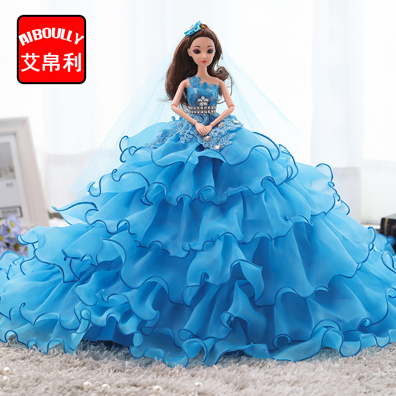 Wedding Dress Dolls Handmade Princess Evening Party Clothes Wears with veil Big tail Long Dress Outfit Set Dolls Girls Gifts
