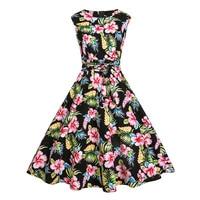 Sisjuly Vintage 1950s 60s Dresses Summer Black Women Floral Print Ball Dress O Neck 2017 Rockabilly
