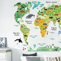 Colorful Animal World Map Wall Stickers For Kids Rooms DIY Mural Wallpaper Animal World Map Decal