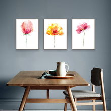 ФОТО modern watercolor beautiful plant flower floral rose canvas art print poster nordic wall picture home decor painting no frame