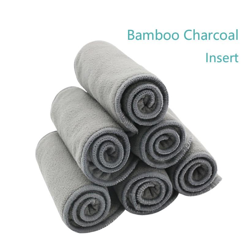 Happy flu cloth diaper 5 pcs 4 layers bamboo Liner Insert Cloth Diaper Nappy Natural Bamboo Washable alva baby cloth diaper
