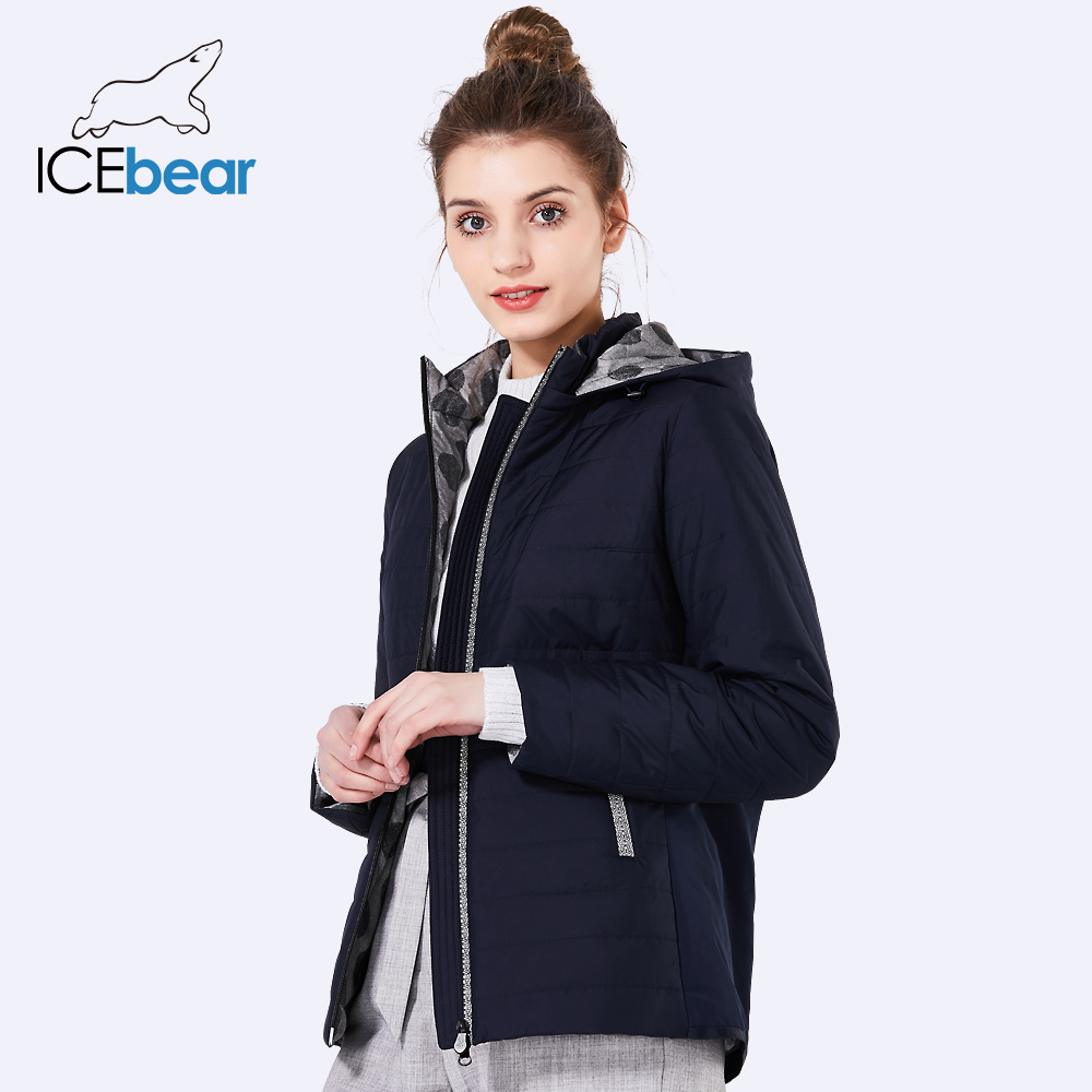 ICEbear 2018 new spring women coat cotton fashion ladies jacket high quality autumn jacket detachable hat brand coat GWC18038D